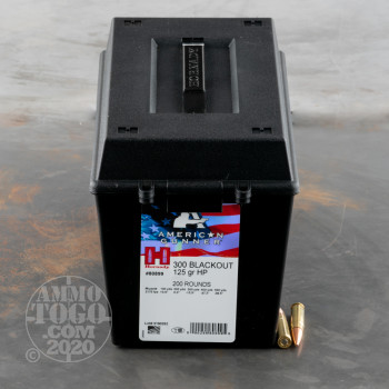 Image of 200rds – 300 AAC Blackout Hornady American Gunner 125gr. HP Ammo in Field Box
