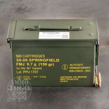 Image of 500rds – 30-06 Prvi Partizan M1 Garand 150gr. FMJ Ammo in Ammo Can