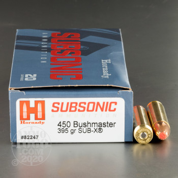 Image of 20rds – 450 Bushmaster Hornady Subsonic 395gr. Sub-X Ammo