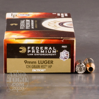 Image of 50rds - 9mm Federal LE Tactical HST 124gr. HP Ammo