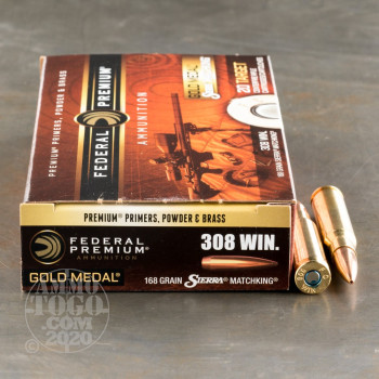 Image of 200rds – 308 Win Federal Gold Medal 168gr. MatchKing BTHP Ammo