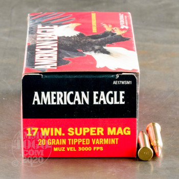 Image of 50rds - 17 Win Super Mag Federal American Eagle 20gr. Polymer Tip Ammo