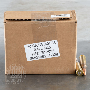 Image of 50rds – 50 BMG Lake City 660gr. FMJ M33 Ammo