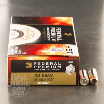 Image of 50rds - 40 S&W Federal LE Tactical HST 165gr. HP Ammo