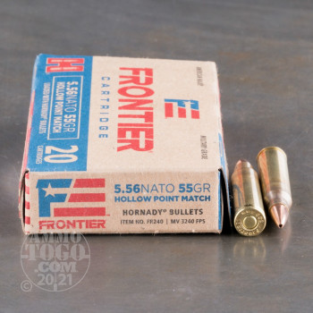 Image of 500rds - 5.56x45 Hornady Frontier 55gr. HP Match Ammo