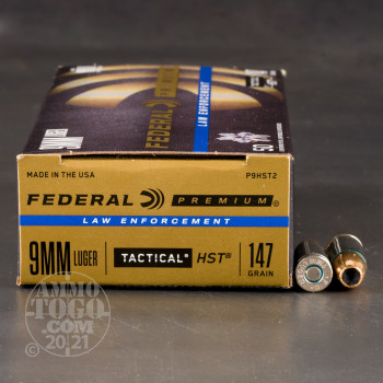 Image of 50rds - 9mm Federal LE Tactical HST 147gr. HP Ammo