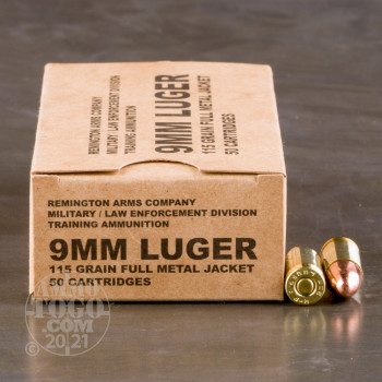 Image of 500rds - 9mm Remington LE / MIL Contract Overrun 115gr. FMJ Ammo