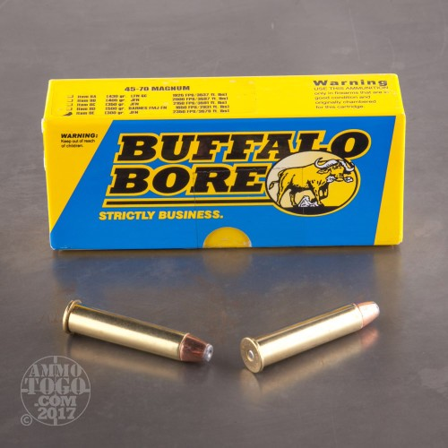 45-70 Government Ammunition for Sale. Buffalo Bore 300 Grain Jacketed Hollow-Point (JHP) - 20 Rounds