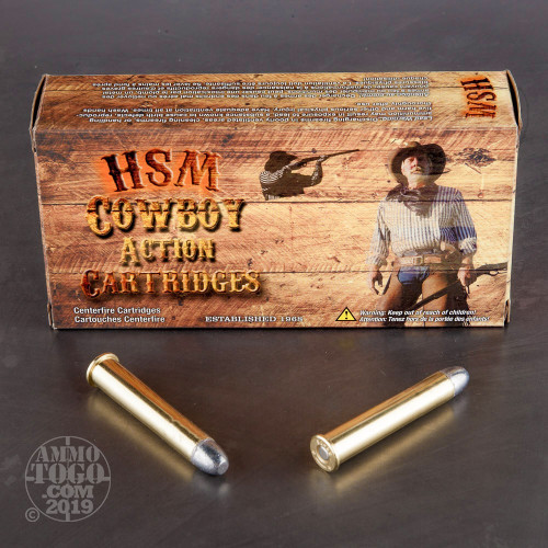 20rds – 38-55 Winchester HSM Cowboy Action 240gr  RN-FP Ammo