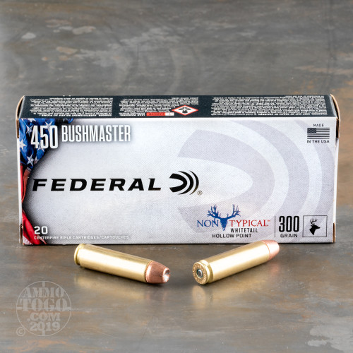 20rds – 450 Bushmaster Federal Non-Typical 300gr  JHP Ammo