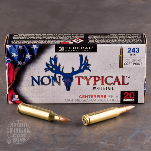 20rds - 243 Win Federal Non-Typical Whitetail 100gr  Non-Typical SP Ammo