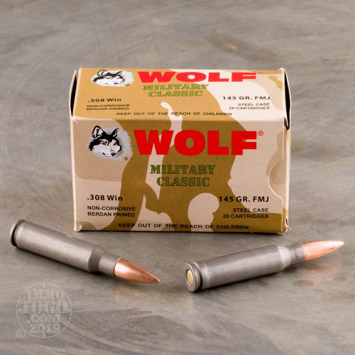 500rds - 308 WPA Military Classic 145gr  FMJ Ammo