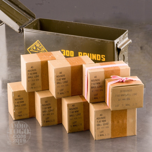 300rds - 7 62x51 Malaysian Military Surplus Ammo In Steel Ammo Can 146gr   FMJ Ammo