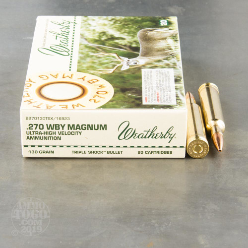 .270 Weatherby Ammo - 20 Rounds of 130 Grain TSX by ...
