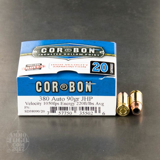 20rds - .380 Auto Corbon 90gr. Hollow Point Ammo