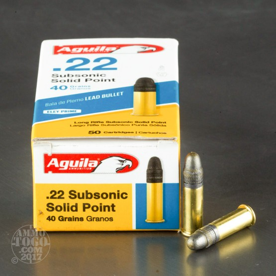 50rds - 22LR Aguila Sub-Sonic 40gr. Solid Point Ammo