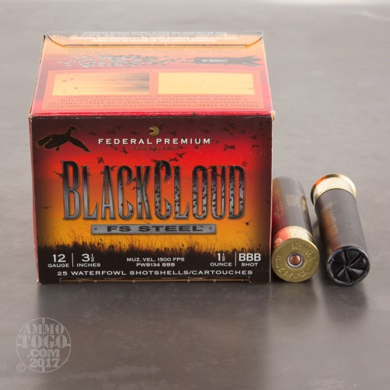 "25rds - 12 Ga. Federal Blackcloud 3 1/2"" 1 1/2oz #BBB Steel Shot Ammo"