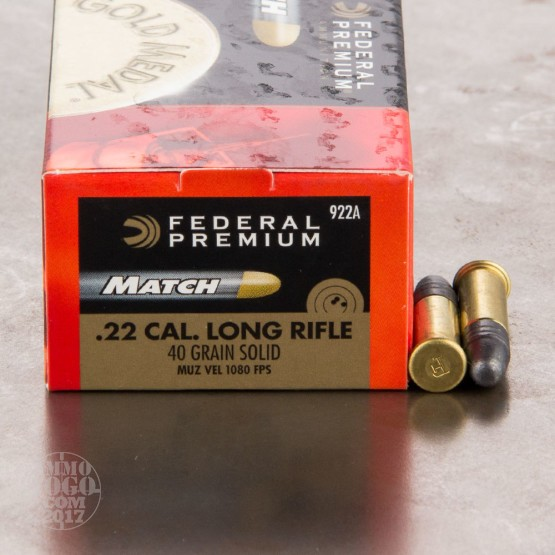 50rds - 22 LR Federal Gold Medal Match 40gr. Solid Ammo
