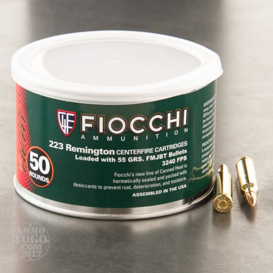 50rds - .223 Fiocchi Canned Heat 55gr. FMJBT Ammo