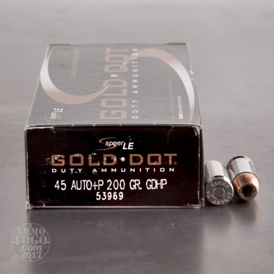50rds - 45 ACP Speer LE Gold Dot 200gr. +P HP Ammo
