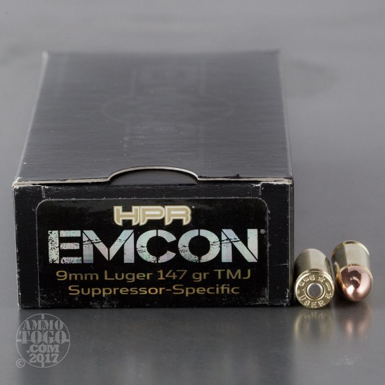 50rds - 9mm Luger HPR EMCON 147gr. TMJ Subsonic Ammo