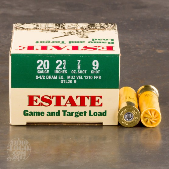 "250rds - 20 Gauge Estate Game and Target 2 3/4"" 2 1/2 Dram 7/8oz. #9 Shot Ammo"