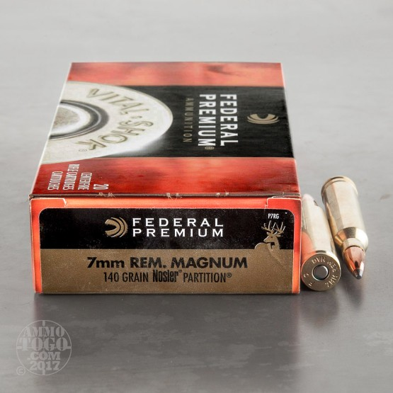 20rds -  7mm Rem Mag Federal 140gr. Vital-Shok Nosler Partition Ammo