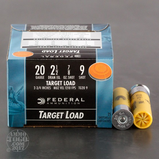 "25rds - 20 Gauge Federal Top Gun Target Load 2 3/4"" 7/8oz. #9 Shot Ammo"