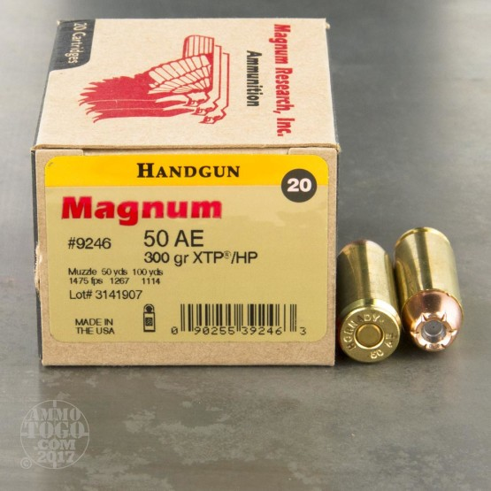 20rds – 50 AE Magnum Research Inc. 300gr. XTP HP Ammo