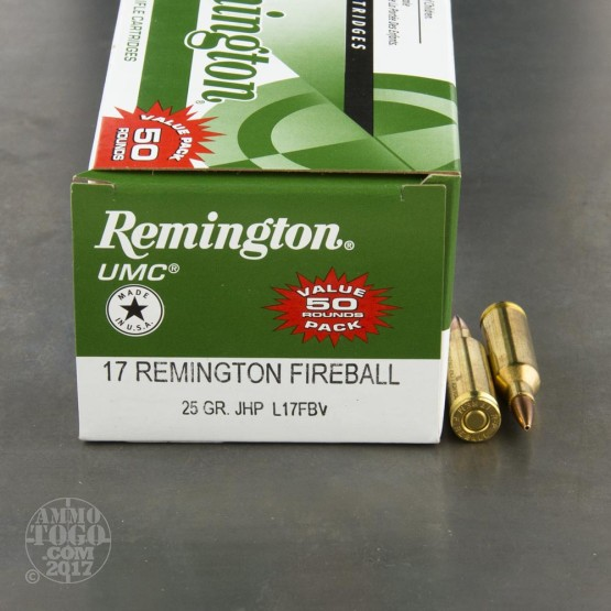 50rds - 17 Fireball Remington 25gr. JHP Ammo
