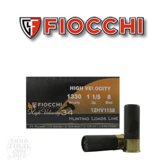 "25rds - 12 Gauge Fiocchi High Velocity Hunting 2 3/4"" 1 1/5oz. #8 Shot Ammo"