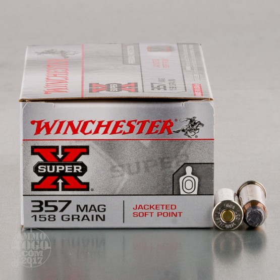 50rds - 357 Mag Winchester Super-X 158gr. Jacketed Soft Point Ammo
