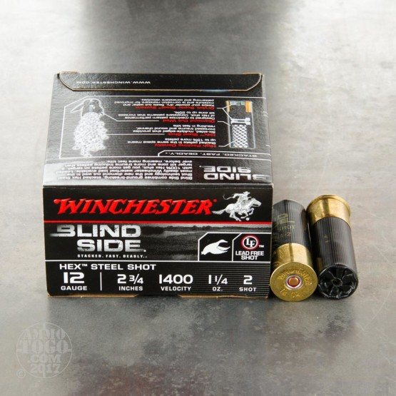 """25rds - 12 Gauge Winchester Blind Side Waterfowl 1 1/4 Ounce 2 3/4"""" (#2 Hex Shot) Ammo"""
