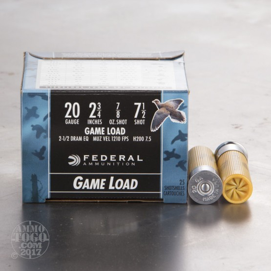 "25rds - 20 Gauge Federal Game Shok 2 3/4"" 7/8oz. #7 1/2 Shot"