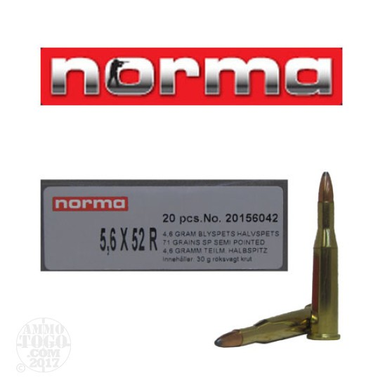 20rds - 5.6 x 52R Norma 71gr Soft Point Ammo