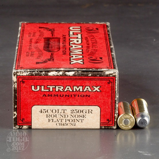 250rds - 45 Long Colt Ultramax 250gr. Round Nose Flat Point Ammo