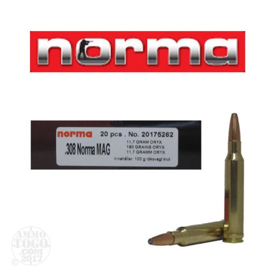 20rds - .308 Norma Magnum 180gr Oryx Ammo