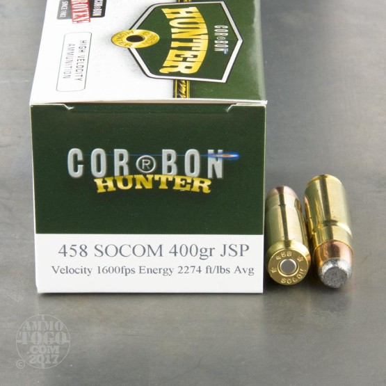20rds - 458 SOCOM Corbon 400gr. Jacketed Soft Point Ammo