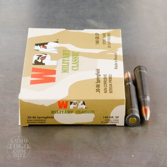 500rds - 30-06 WPA Military Classic 140gr. SP Ammo
