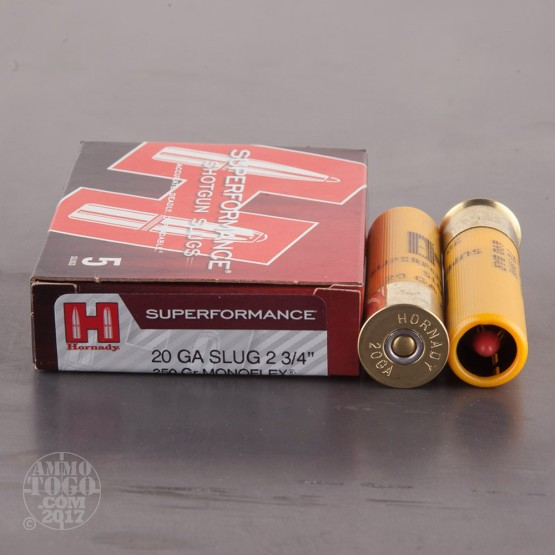 "5rds - 20 Gauge Hornady Superformance 2 3/4"" 250gr. Monoflex Sabot Slug Ammo"
