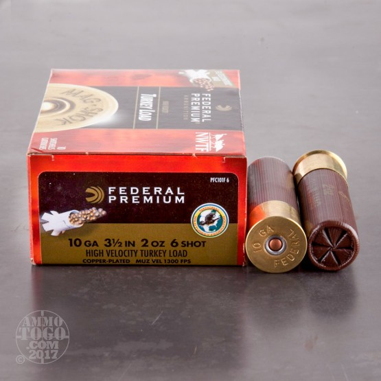 "10rds - 10 Gauge Federal Premium Mag-Shok HV 3 1/2""  2oz.  #6 Turkey Load"