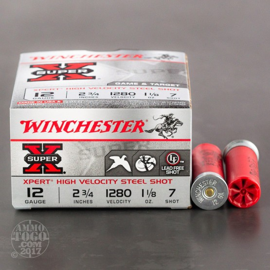 "250rds - 12 Gauge Winchester Super-X 2-3/4"" 1-1/8oz. #7 Steel Shot Ammo"