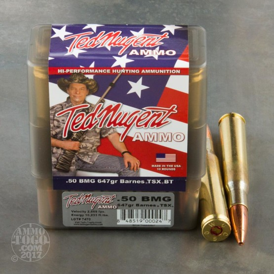 10rds - 50 Cal. BMG Ted Nugent 647gr. TSX BTHP Ammo