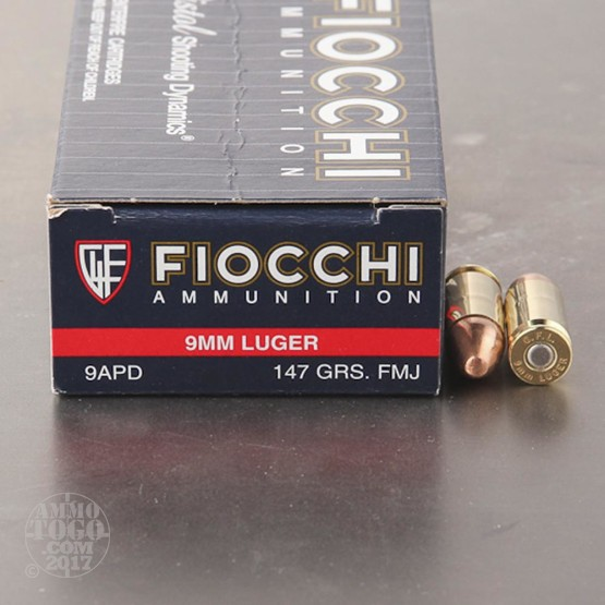 50rds - 9mm Fiocchi 147gr. FMJ Ammo
