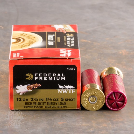 "100rds - 12 Gauge Federal Mag-Shok 2 3/4"" 1 1/2oz. #5 Turkey Load"
