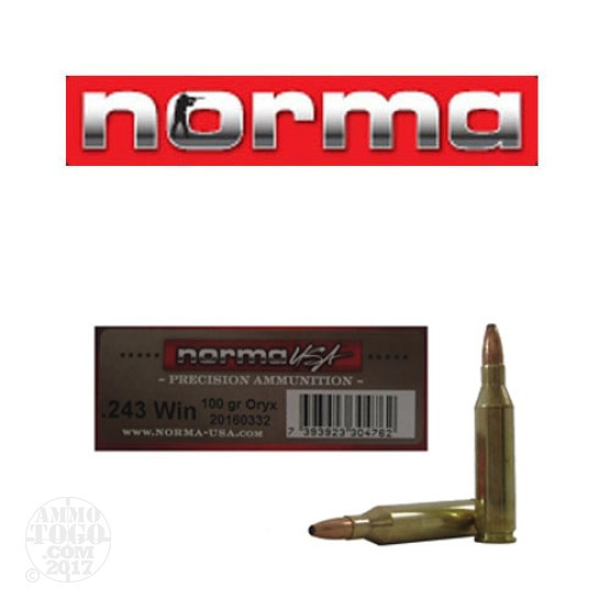 20rds - 243 Win Norma American PH 100gr. Oryx SP Ammo