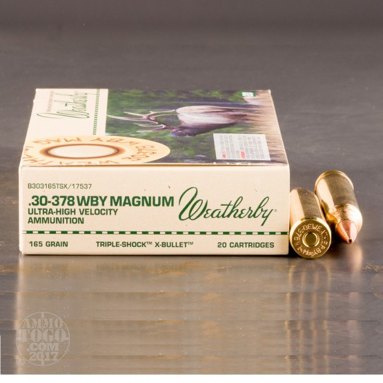 20rds - 30-378 Weatherby Mag. 165gr. Barnes TSX Hollow Point Ammo