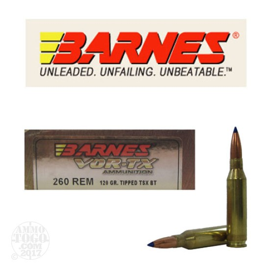 20rds - 260 Rem. Barnes 120gr. Tipped TSX BT Ammo