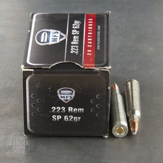 20rds - 223 MFS 62gr. Soft Point Zinc Plated Steel Case Ammo