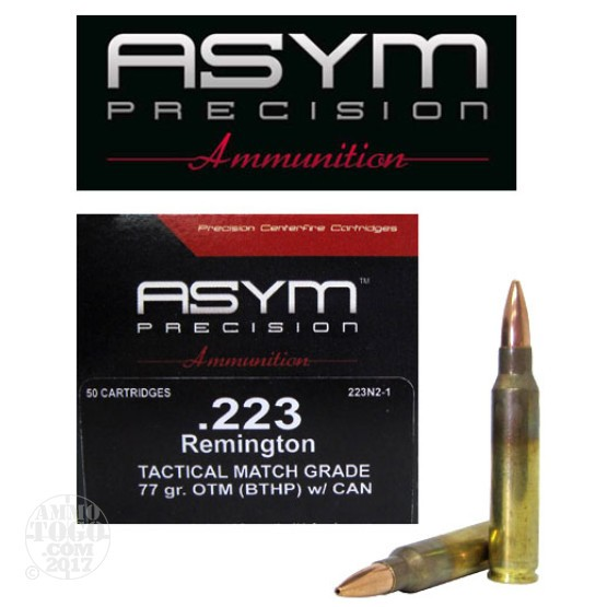 50rds - 223 ASYM Tactical Match Grade 77gr. OTM (BTHP) w/Cannelure